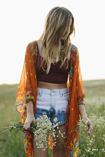 orange floral Frolic cardigan - blue vintage cut off Frolic shorts