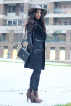 black Drykorn coat - light brown Mostwanted hat - black Primark bag