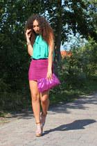 aquamarine Sustilo top - salmon H&M heels - magenta asos skirt
