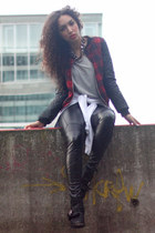 black Topshop boots - red Boohoo jacket - white tide waist vintage sweater