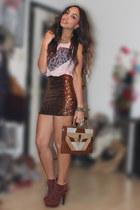 tawny asos skirt - light pink River Island top - brick red deezee heels