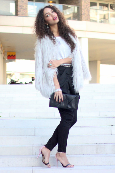 black Ana Mar bag - periwinkle lookbookstore coat - black H&M pants