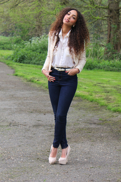 cream Primark blouse - navy River Island jeans - neutral H&M blazer