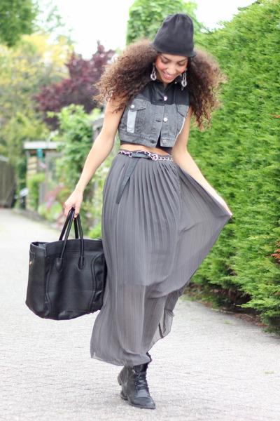 black H&M boots - black beanie Diesel hat - black tote VJ-style bag