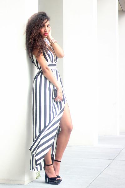 black deezee shoes - white inlovewithfashion dress - black Primark purse