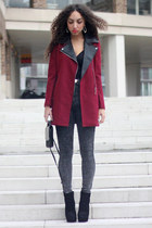 black Dolce Vita boots - ruby red Chicwish coat - heather gray GoJane jeans