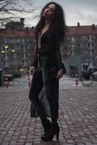 black Maruti boots - black AnaMar bag - black chiffon maxi vintage cardigan