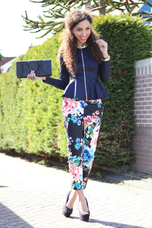 hot pink floral H&amp;M pants - navy AX Paris jacket - black suede deezee heels