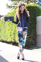 hot pink floral H&M pants - navy AX Paris jacket - black suede deezee heels