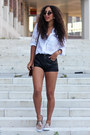 Beige-mostwanted-shoes-black-leather-short-vintage-shorts