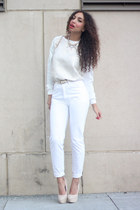 white Inwear jeans - cream Mostwanted sweater - white Mostwanted bag