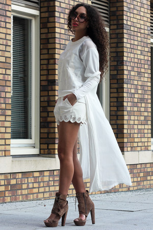 white long maxi vest Rosegal cardigan - tan high heels asos boots