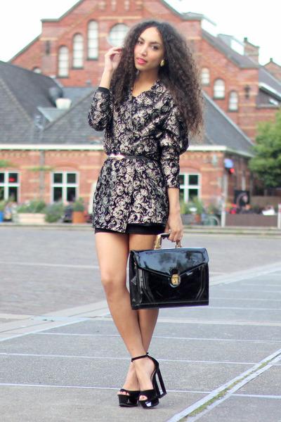black vintage bag - gold vintage blazer - black deezee heels