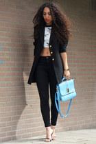 black high waisted asos jeans - black vintage blazer - light blue La Moda UK bag