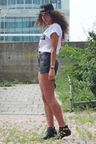 black Zara boots - gold Street Icons hat - black real leather vintage shorts