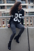 black Have2have boots - heather gray GoJane jeans - gray ComeGetFashion sweater
