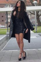 black Society of Chic dress - black vintage coat - black Primark bag