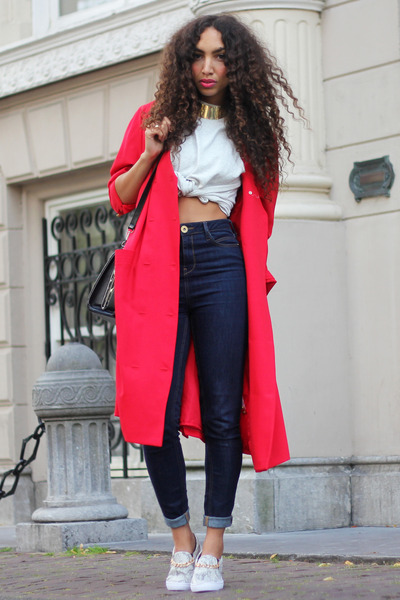 red vintage coat - silver Mostwanted shoes - navy River Island jeans