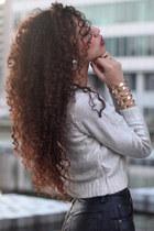 silver H&M sweater - black vintage shorts - gold cut out armor Romwomen bracelet