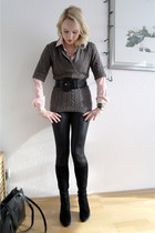 black suede boots - gray Esprit sweater - ruby red striped Tommy Hilfiger blouse