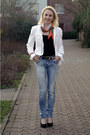 Violet-replay-jeans-white-s-oliver-jacket-carrot-orange-silk-hermes-scarf-