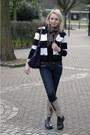 Camel-untzer-boots-black-striped-h-m-jacket-brown-burberry-scarf-deep-purp