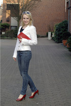 ruby red patent leather andre pucchini shoes - navy skinny Lord richards jeans -