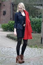 brick red Jeffrey Campbell shoes - black Kookai dress - ruby red marco pecci jac