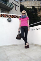 crimson Timberland shoes - blue Primark scarf - dark brown Louis Vuitton bag