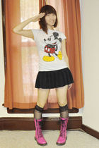 white Disney t-shirt - black from japan skirt - pink Dr Martens shoes