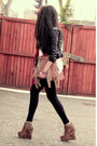Black-jacket-black-leggings-gold-ashish-for-topshop-boots-red-ebay-scarf-
