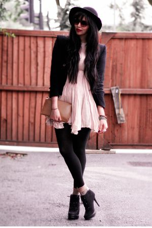 black Ebay boots - beige Topshop dress - black vintage jacket - black  tights