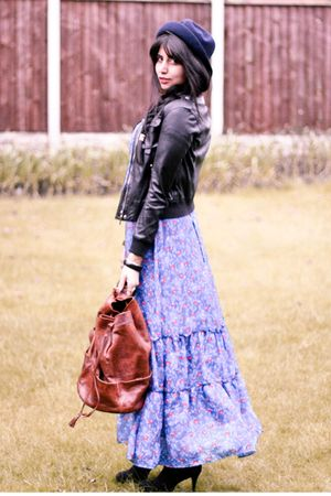 blue vintage dress - black Topshop shoes - blue vintage hat