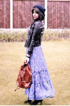 blue vintage dress - black Topshop shoes - blue vintage hat