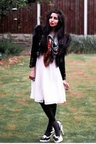 white Topshop shoes - white vintage dress - black vintage jacket - orange vintag
