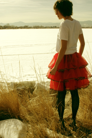 red skirt - white Forever 21 shirt - black Urban Outfitters leggings