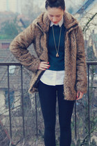 brown faux fur Zara coat - black New Yorker boots - white Zara shirt
