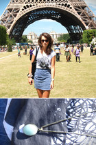 off white H&M shirt - black Zara bag - H&M sunglasses - blue denim H&M skirt - B
