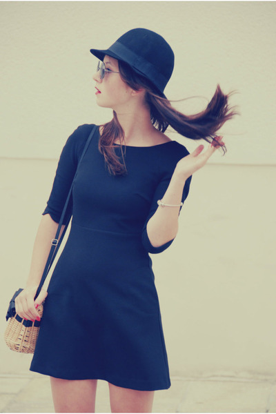black Zara dress - black H&amp;M hat - eggshell New Yorker bag