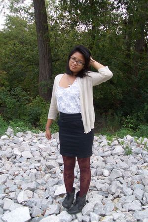 cardigan - Forever 21 top - skirt - Forever 21 tights - Urban Outfitters boots