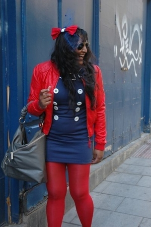 H&M jacket - Dahlia dress - H&M tights - Charles & Keith accessories