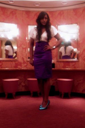 green heels patricia field shoes - purple River Island skirt