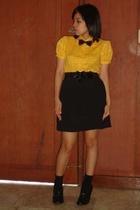 Plains and Prints top - Zara Trf belt - thrifted skirt - socks - Soda shoes