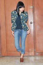 vintage floral blazer - Hanes t-shirt - skinny jeans - Steve Madden brogues