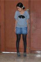 Jill Stuart top - Mango denim mini skirt - Zara lace up shoes - tights