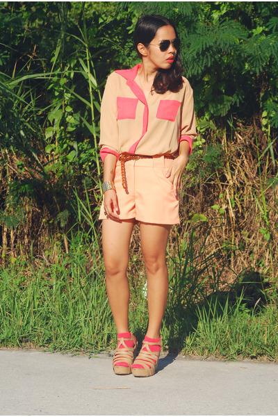 peach shorts - Forever 21 socks - aviator Ray Ban sunglasses - tawny bought onli