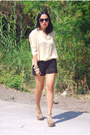 Black-crochet-shorts-foxy-cheetah-jeffrey-campbell-heels-dark-khaki-semi-she