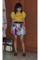Plains and Prints blouse - forever 21 skirt - Steve Madden shoes