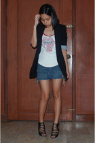 Zara blazer - Mango top - From Greenhills cut off denim mini skirt - strappy sho