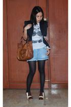 thrifted blazer - forever 21 shirt - Zara shorts - Aldo shoes - B Makowsky bag a